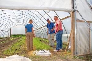 Hannah Sargent and Jonathon Moser hosted a farm tour for USDA farm to school rep Bob Gorman on June 4.